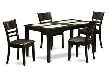 5 PC dining Set-Glass insert Table top and 4 dining chairs