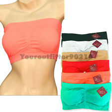 Women's Strapless Padded Tube Bra Top Seamless Elastic Removable Pad Bandeau Fit