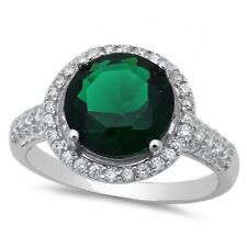 Halo Wedding Engagement Ring Solid 925 Sterling Silver 4CT Emerald Russian CZ