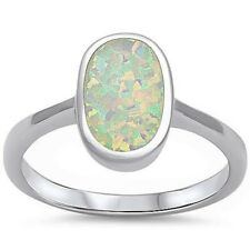 Solitaire Solid 925 Sterling Silver Oval White Opal Inlay Wedding Ring