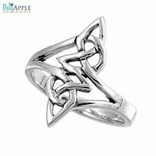 3mm Abstract Shiny Celtic Knot Band Ring Solid 925 Sterling Silver Simple Plain