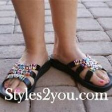 Grandco Sandals Crystal Beaded Slide In Black 25548 BK  Size 5