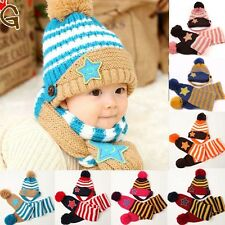 Acrylic Baby Boy/Girl Children Crochet Knit Winter Hat with Scarf/set Beanie Cap