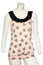 NEW Ladies MISO Pink  Summer Heart Print Top with Diamonte to Neckline
