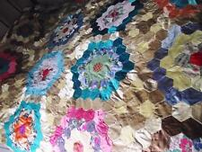 Gorgeous Vintage Handmade Patchwork Quilt/Bedspread Funky Fabric 1970's