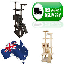 Large Multi Level Cat Scratching Poles Tree w/ Ladder Condo Cubby Pouch House