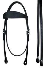Black Basket Weave Leather Western Horse Bridle with Reins Cob or Full Size