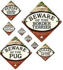 Oval Cast Iron Dog and Text Signs