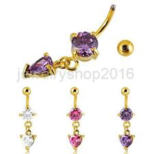 Dangly Heart Crystal Belly Button Bar Navel Ring Body Piercing Gold Plated