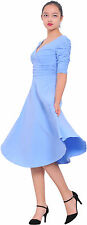 SKY BLUE WOMENS FLARED RETRO 1950s PIN UP ROCKABILLY VINTAGE MIDI WRAP DRESSES