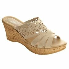 Spring Step DORA Womens Beige Leather Comfort Fashion Platform Slides Sandals