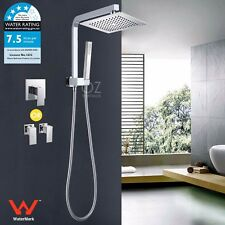 WELS 2 In 1 Square Shower Head Handheld Spray Diverter Wall Arm Mixer Tap Set