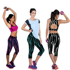 Yoga Sport Women Floral High Waist Leggings Gym Pants Stretch Cropped Trousers