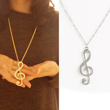 1pc Hot Sale Women Charming Alloy Rhinestone Crystal Music Note Pendant Necklace