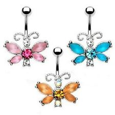 One 316L Surgical Steel Frosted Gem Butterfly Navel Belly Button Ring