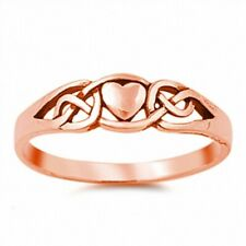 Celtic Knot Heart Valentines Simple Plain Ring 925 Sterling Silver Rose Gold