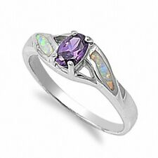7mm Wedding Engagement Ring 925 Sterling Silver White Opal Synthetic Amethyst