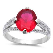 Split Shank Wedding Engagement Ring 925 Sterling Silver 2.60Ct Ruby Russian CZ
