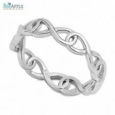 Infinity Plain Band Wedding Engagement Ring 925 Sterling Silver Rhodium Plated