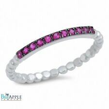 Half Eternity Wedding Engagement Band Ring Solid 925 Sterling Silver Ruby CZ