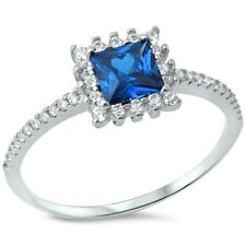 Halo Wedding Engagement Ring 925 Sterling Silver 0.50CT Blue Sapphire Russian CZ