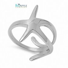 Open Simple Plain Split Shank Starfish Ring Solid 925 Sterling Silver