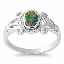 Oval Cut Wedding Engagement Ring Solid 925 Sterling Silver Lab Black Opal