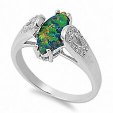 Marquise Cut Wedding Engagement Ring 925 Sterling Silver 0.50ct Black Lab Opal
