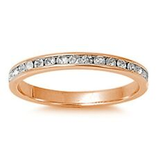 2MM Stackable Full Eternity Wedding Ring Sterling Silver Rose Gold Russian CZ