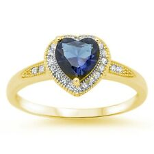 Halo Heart Promise Ring 925 Sterling Silver 1.20CT Blue Sapphire Russian CZ