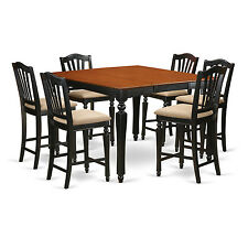 7 Piece Counter Height Table Set-Square pub Table and 6 counter height chairs