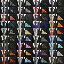 48 Colors Mens ties Silk & Pocket Square Handkerchief Suit SET Paisley Wedding