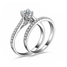 2pcs/set  Women Engagement Wedding Cubic Zirconia Silver Plated Ring