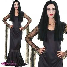 Morticia The Addams Family Licensed Ladies Halloween Adult Fancy Dress Costume
