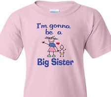 """BIG SISTER T-Shirt """"I'm gonna be a BIG SISTER"""" Pregnant Mother -PINK Youth Tee"""