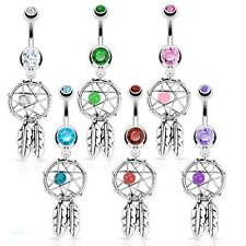 Dreamcatcher belly bars classic dream catcher dangle belly bars choose colour