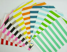 25 Colored Favor Food Oil Paper Party Bags Horizontal Stripe Craft Bag For Party