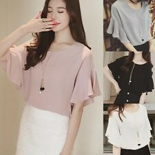 Sexy Summer Short Flare Sleeve Chiffon Tops Solid Casual Beach Blouses T-Shirt
