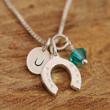 925 Sterling Silver Personalised Lucky Horseshoe Pendant Necklace & Birthstone