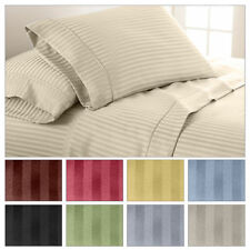 "New 800-TC 100% Cotton Stripe Sheets 23"" Deep Pocket 4-PC OR 6-PC Sheet Set"