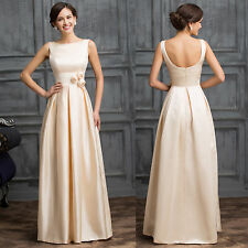 New Sleeveless Low-Back Apricot Satin Evening Dress Long Formal Gown Party Dress