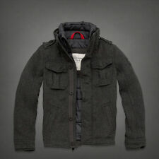 NWT Abercrombie&Fitch Men's Buell Mountain Wool Blend Quilted Jacket Coat S Grey