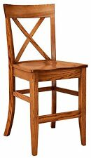 """Set (3) Amish Frontier 24"""" Stationary Counter Height Bar Stools Solid Wood"""