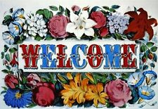 Currier & Ives WELCOME. Red, white & blue flowers. Victorian art notecards.