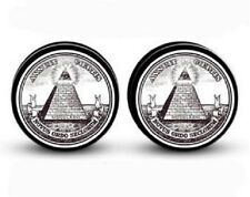 Illuminati (Dollar Bill) Screw-on Stash Box Plugs / Gauges Acrylic (2 Pieces)