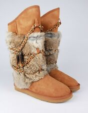 NEW AUSTRALIA LUXE COLLECTIVE WOMEN'S ATILLA RABBIT FUR SHEEPSKIN WRAP BOOTS
