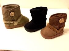 NEW Toddler Girls Faux Suede Button Winter Boots Inner Faux Fur size 1-12