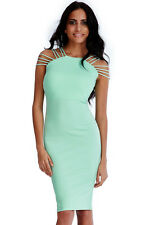 ~MARCELLA~ Mint Green Bodycon Evening Summer Midi Strap Party Dress 12 14 16 £75