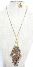 Pave Peacock Feathers & Pearl Necklace And Earring Set Gold or Mutli NEW