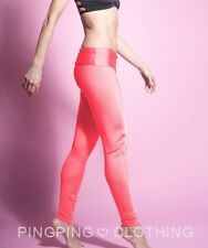 Salmon Shiny Spandex Leggings High Waisted Nylon Yoga Pants Peach Coral